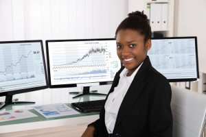 Woman with stock reports