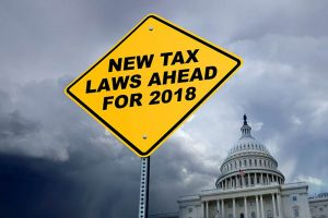 New Tax Laws Ahead Sign In Front Of Capitol Building
